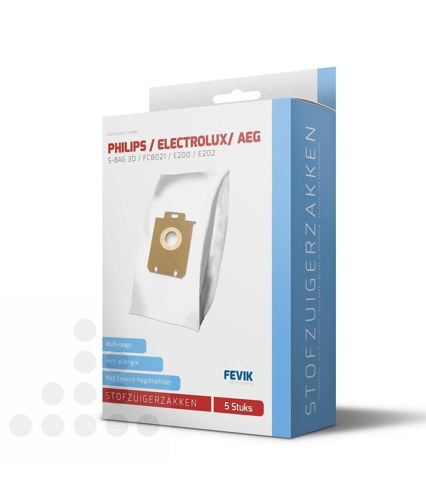Stofzuigerzakken Philips S-Bag 3-D filterplus - 5 stuks + filter