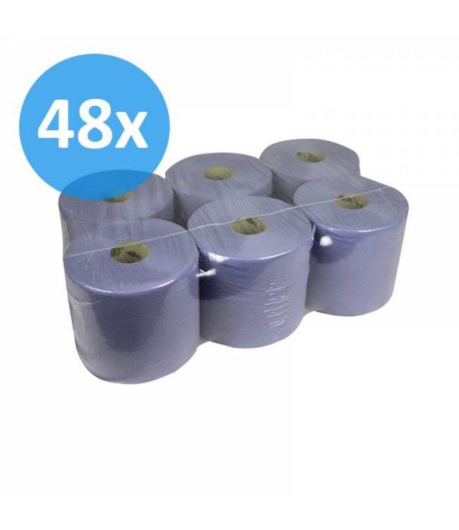 Eigen merk Poetsrollen Midi, 1-laags, recycled blauw