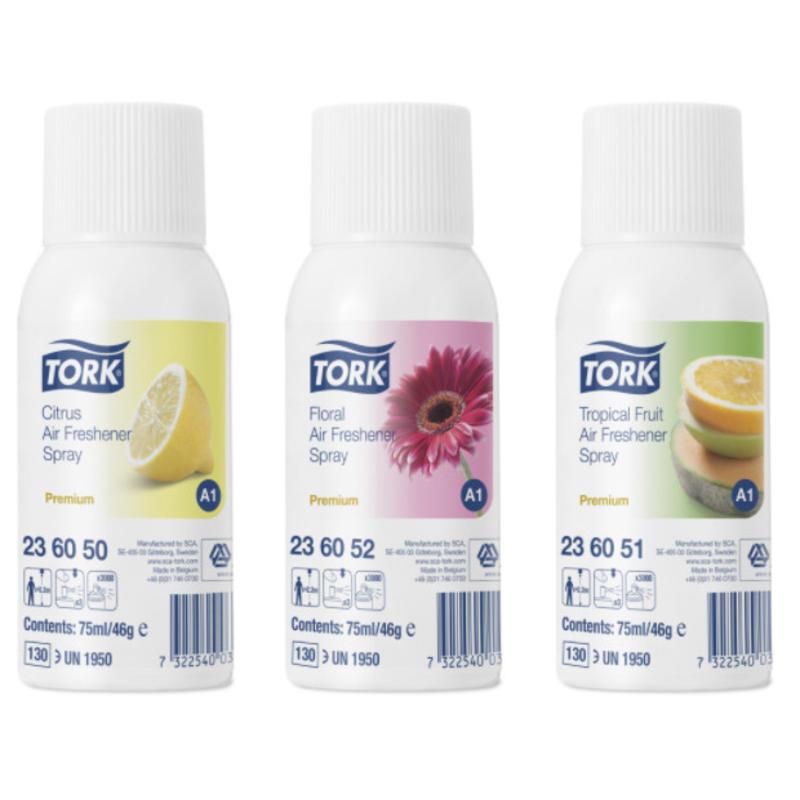 12x Tork Luchtverfrisser Spray 3 Parfums A1 Premium