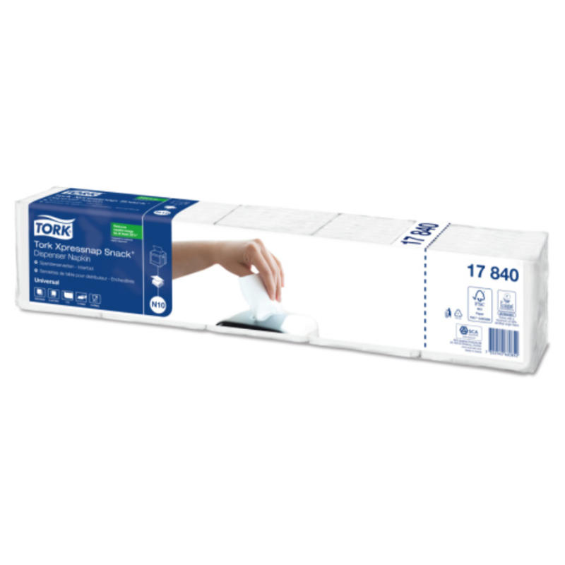 Tork Xpressnap Snack® dispenserservet 21,6x21,6cm 1-laags 1/4-vouw wit 5x225x8