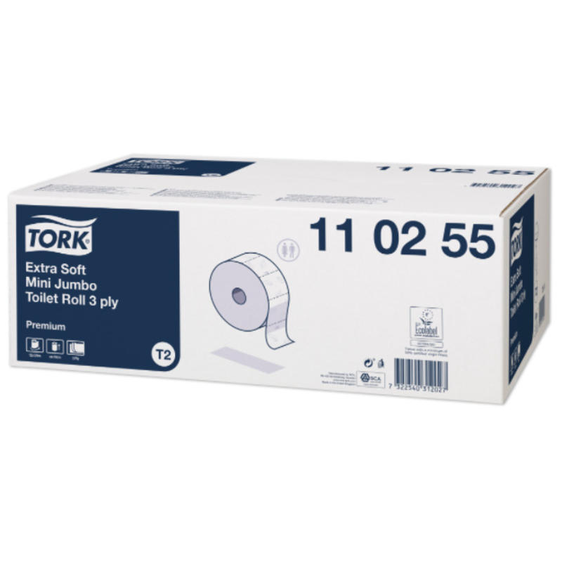 Tork Extra Zacht Mini Jumbo Toiletpapier 3-laags Wit T2 Premium