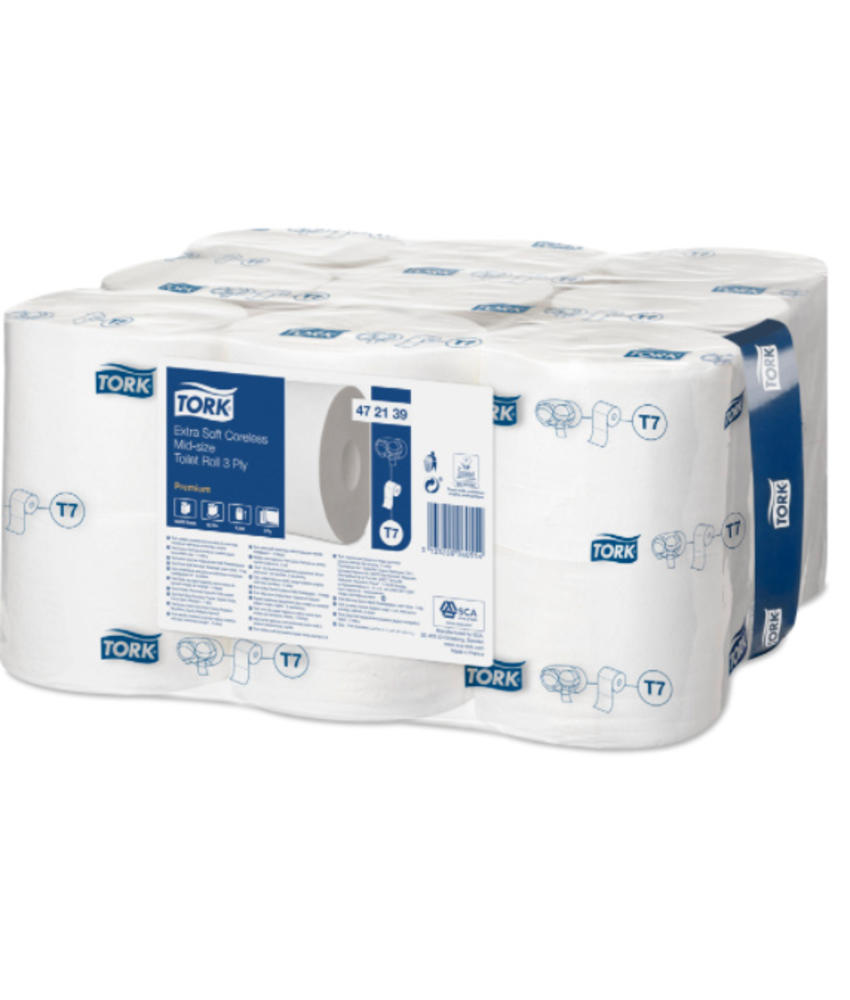 Tork Extra Zacht Hulsloos Mid-size Toiletpapier 3-laags Wit T7 Premium