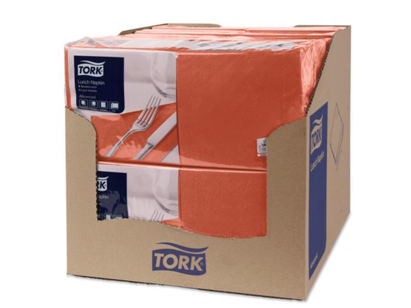 Tork Tork tissue servet 33x33cm 2-laags 1/4-vouw terracotta 10x200