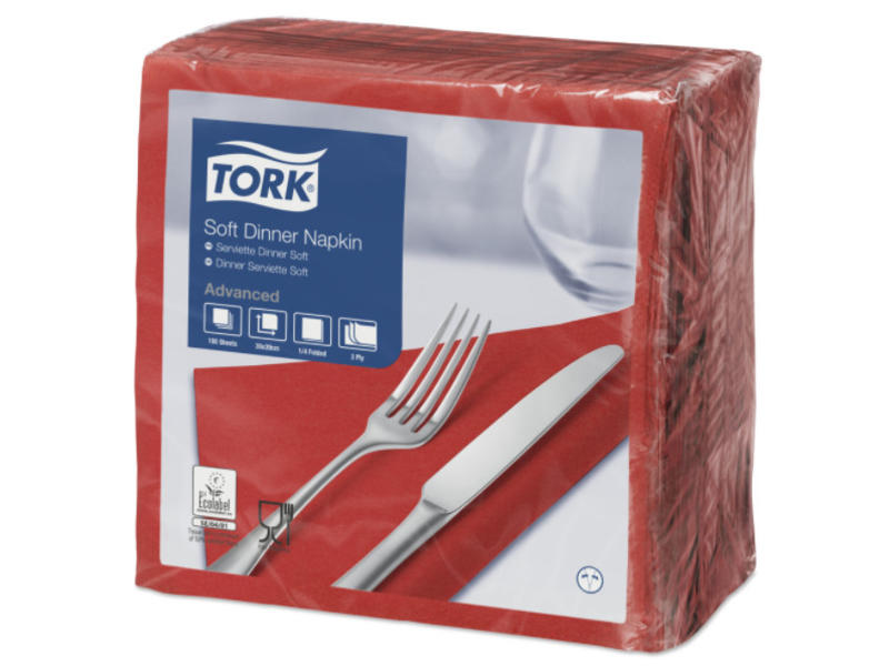 Tork Tork tissue servet 39x39cm 3-laags 1/4-vouw rood 12x100
