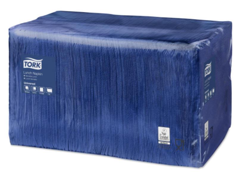Tork Tork tissue servet 33x33cm 1-laags 1/4-vouw midnight blue 9x500
