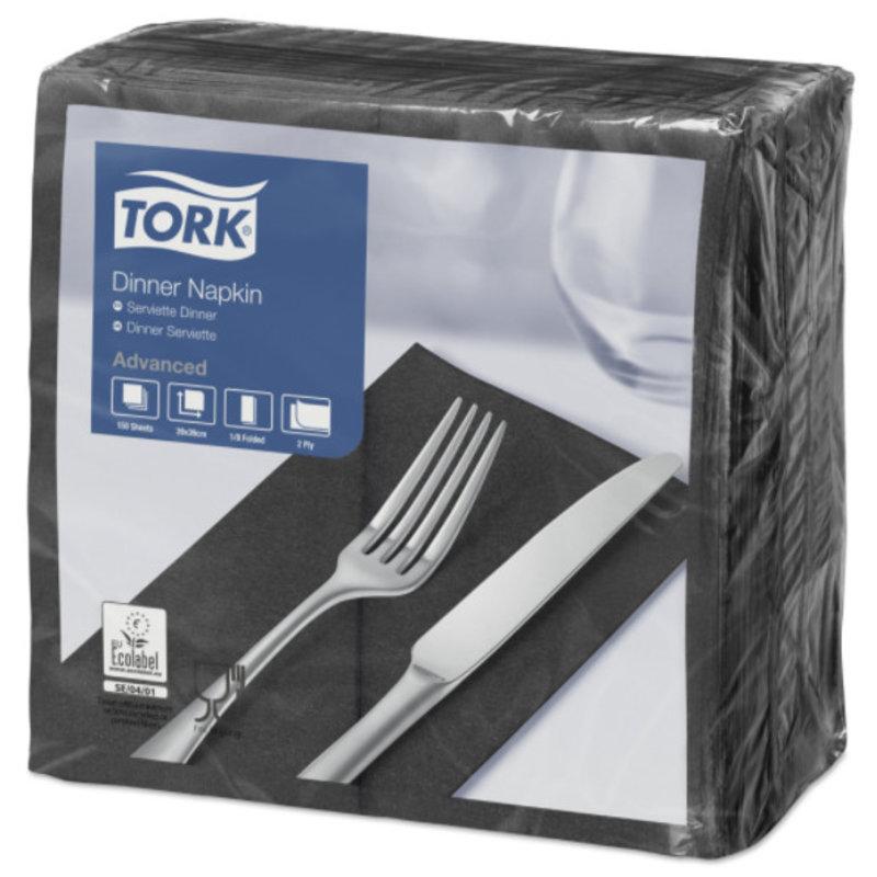 Tork tissue servet 39x39cm 2-laags 1/8-vouw zwart 12x150