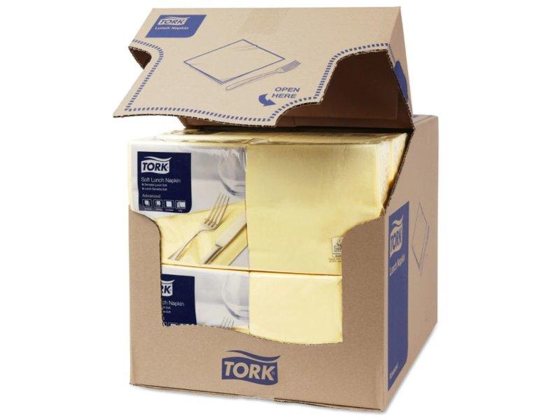 Tork Tork tissue servet 33x33cm 3-laags 1/4-vouw champagne 10x150