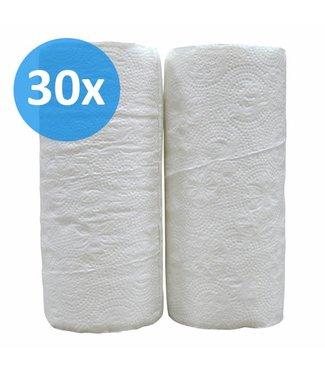 Eigen merk Keukenrollen, 2-laags, cellulose  wit, 32 rollen x 50 vel