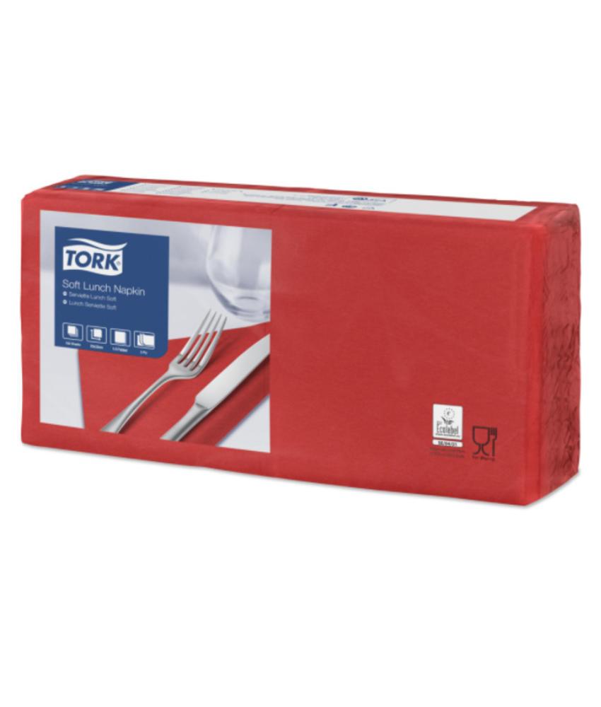 Tork tissue servet 33x33cm 3-laags 1/4-vouw rood 10x150