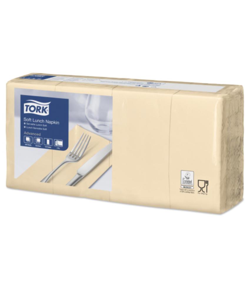 Tork tissue servet 33x33cm 3-laags 1/8-vouw zand 10x150