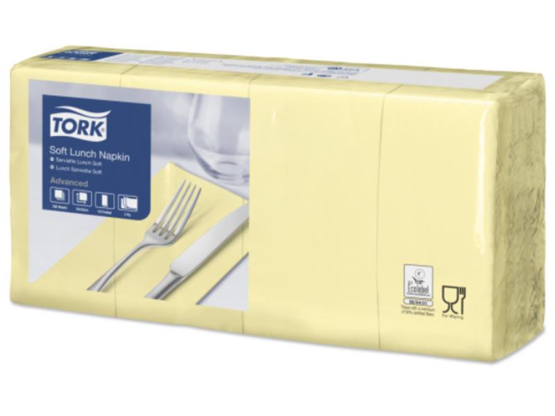 Tork Tork tissue servet 33x33cm 3-laags 1/8-vouw champagne 10x150