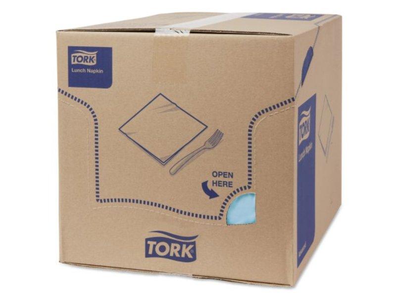Tork Tork tissue servet 33x33cm 2-laags 1/4-vouw lichtblauw 10x200