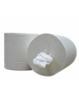 Eigen merk Poetsrollen Midi, kokerloos, 6x 300M, 1-laags, cellulose, wit, geperforeerd