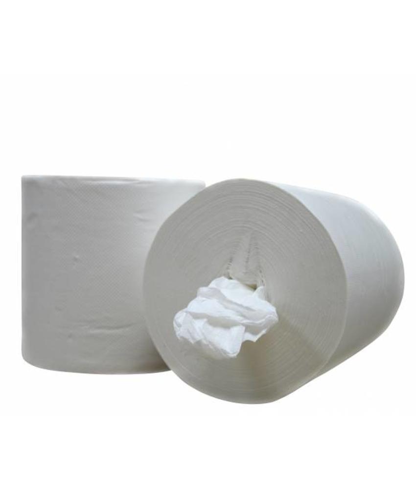 Poetsrollen Midi, kokerloos, 6x 300M, 1-laags, cellulose, wit, geperforeerd