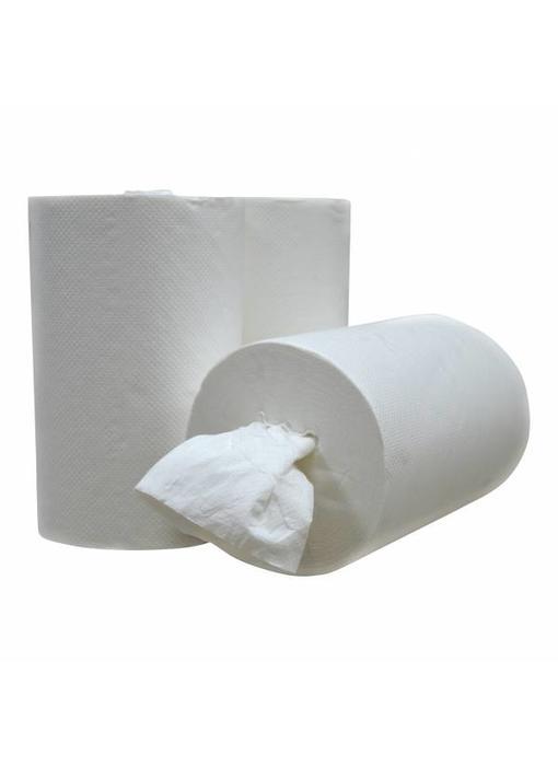 Poetsrollen Mini, kokerloos, 12 x 120M, 1-laags, cellulose, wit