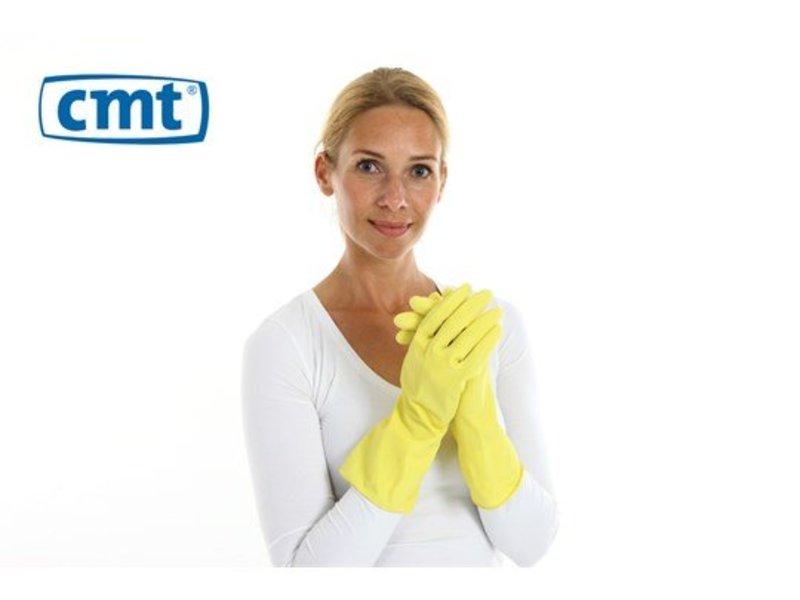 CMT Huishoudhandschoen rubber food approved 12 paar - geel
