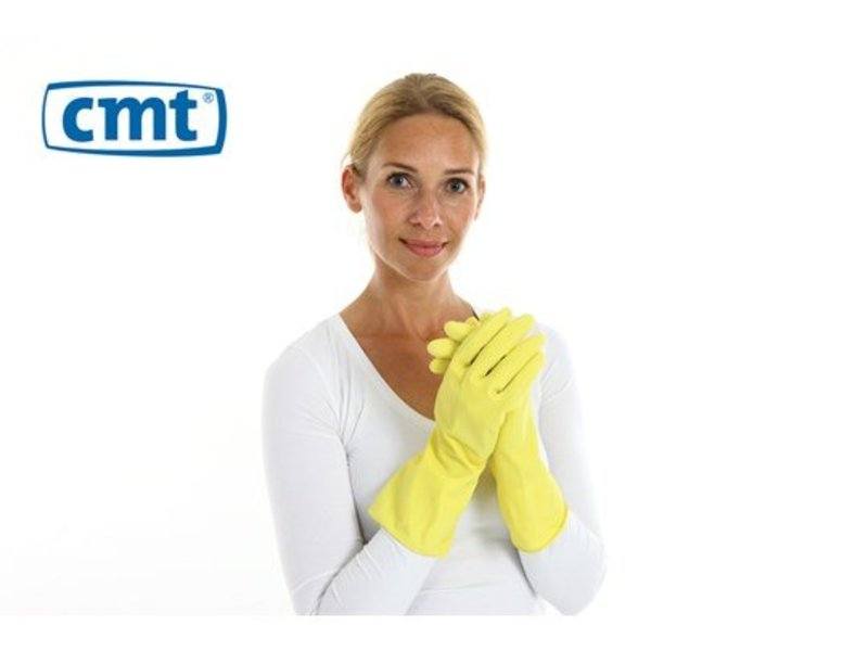 CMT Huishoudhandschoen extra stevig rubber food approved 12 paar - geel