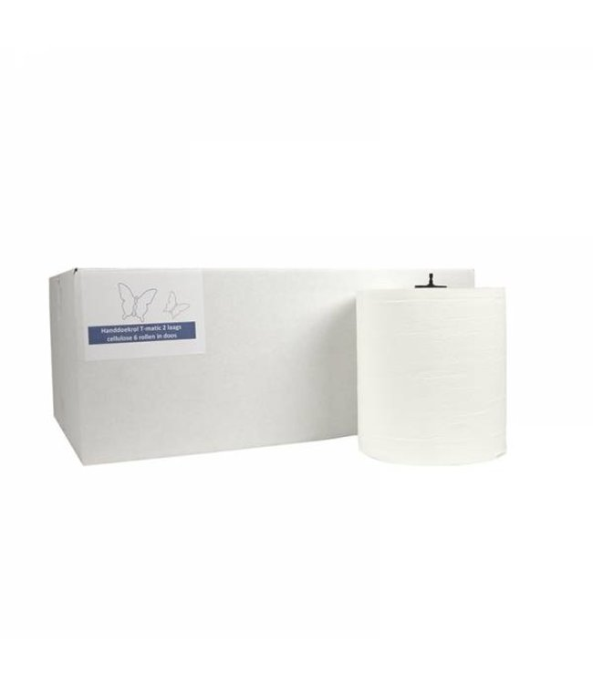 Eigen merk Handdoekrol Matic, 2-laags, cellulose wit, 21cm, 6x 150M