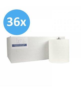 Eigen merk PALLET Handdoekrol Matic, 2-laags, cellulose wit, 21cm