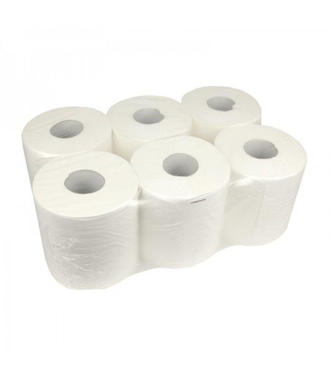 Eigen merk Poetsrollen Midi, 6x 300M, 1-laags, cellulose, wit, geperforeerd