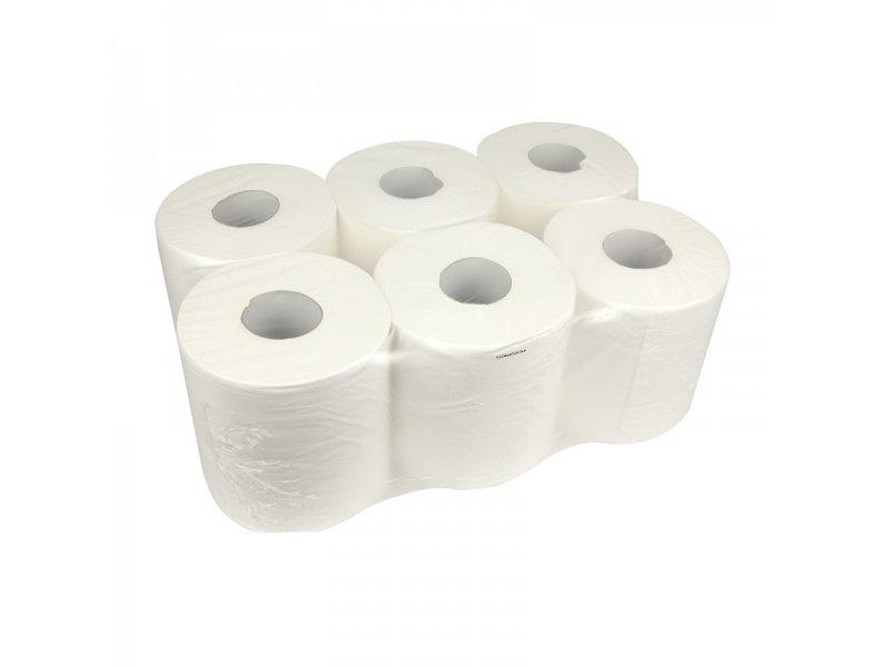 Eigen merk Poetsrollen Midi, 6x 300M, 1-laags, cellulose, wit, geperforeerd - FOOD SAFETY