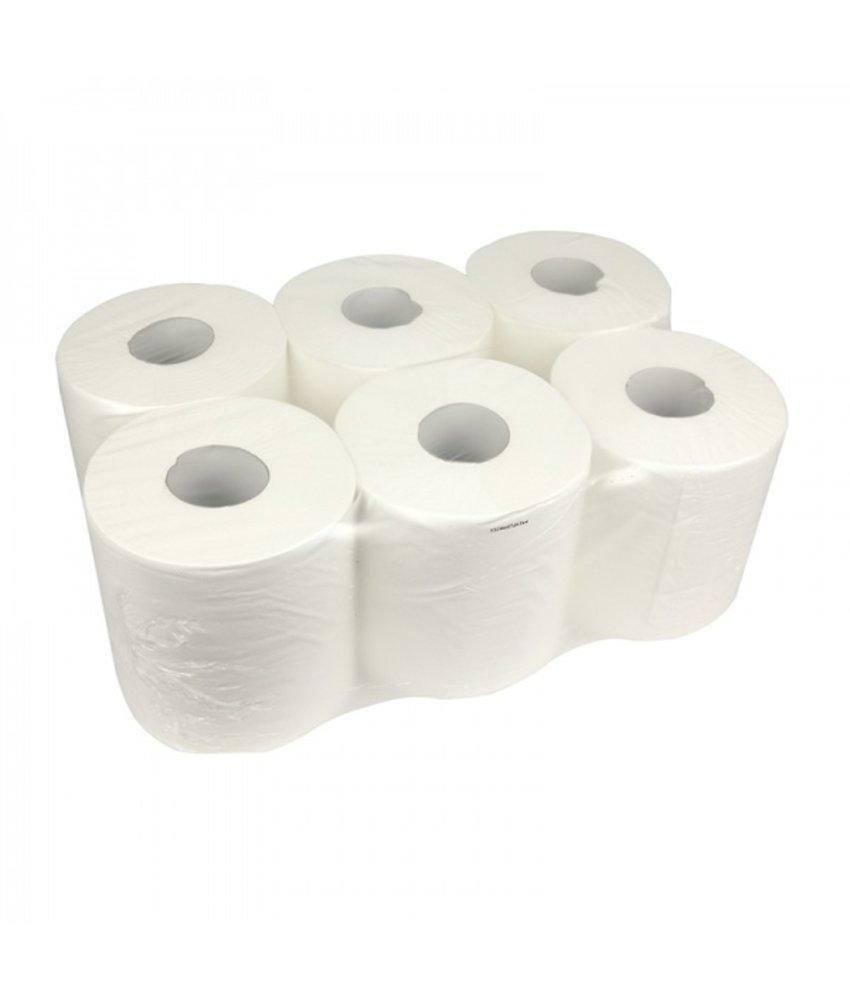 Poetsrollen Midi, 6x 300M, 1-laags, cellulose, wit, geperforeerd
