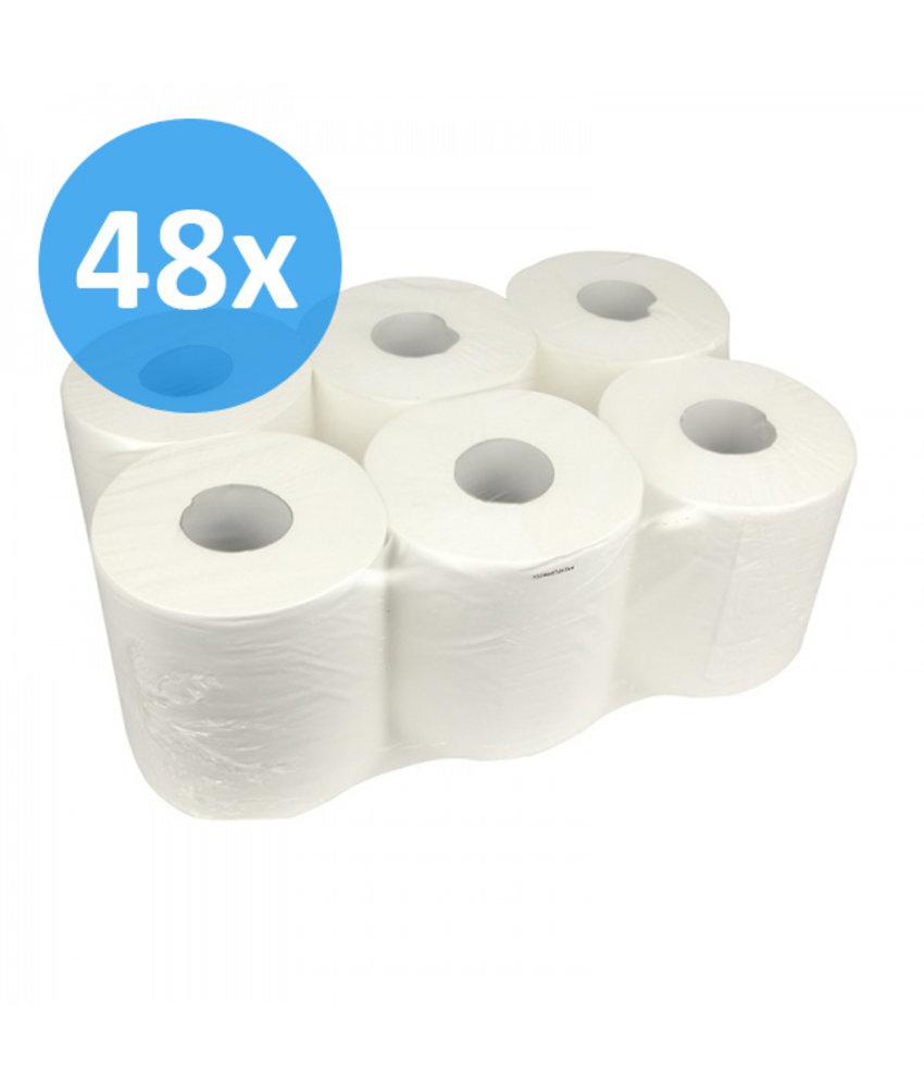 PALLET Poetsrollen Midi, 6x 300M, 1-laags, cellulose, wit, geperforeerd