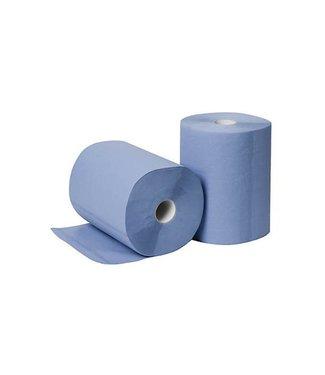 Eigen merk Poetsrollen Midi, 6x 135M, 2-laags, cellulose, blauw, geperforeerd