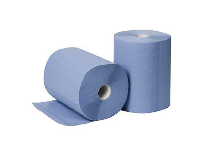 Eigen merk Poetsrollen Midi, 6x 135M, 2-laags, cellulose, blauw, geperforeerd - FOOD SAFETY