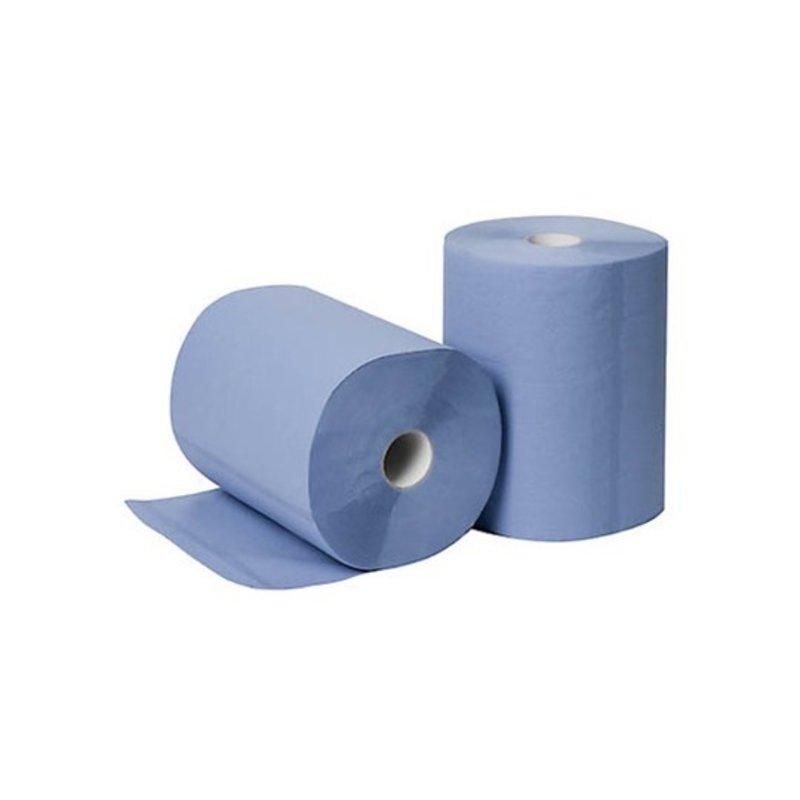 Poetsrollen Midi, 6x 135M, 2-laags, cellulose, blauw, geperforeerd