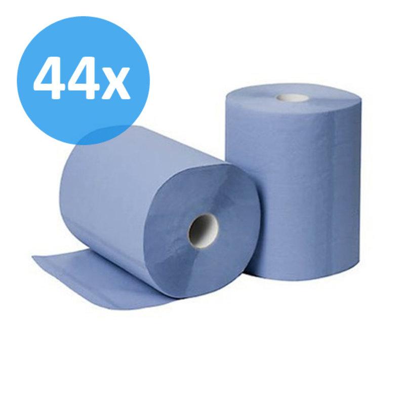 PALLET Poetsrollen Midi, 6x 135M, 2-laags, cellulose, blauw, geperforeerd