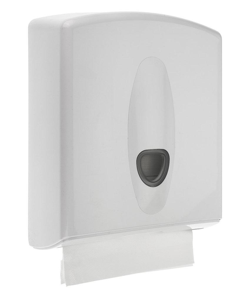 Handdoekdispenser midi kunststof wit