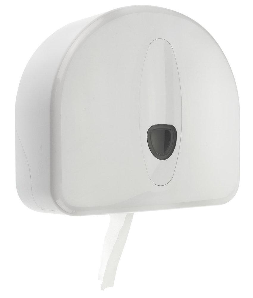 Jumboroldispenser mini + restrol kunststof wit