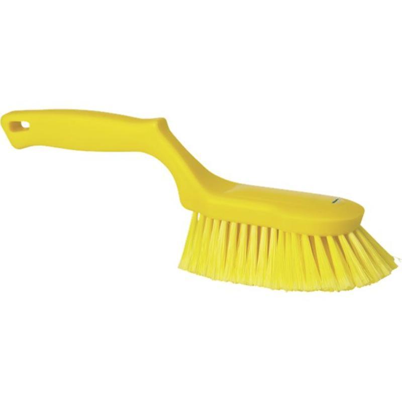 Vikan Ergonomische handborstel polyester vezels, zacht, 330x105x110mm geel