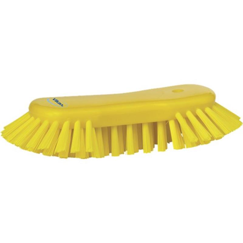 Vikan Grote ergonomische werkborstel polyester vezels, hard, met wijd uitstaande vezels 250x120x60mm geel