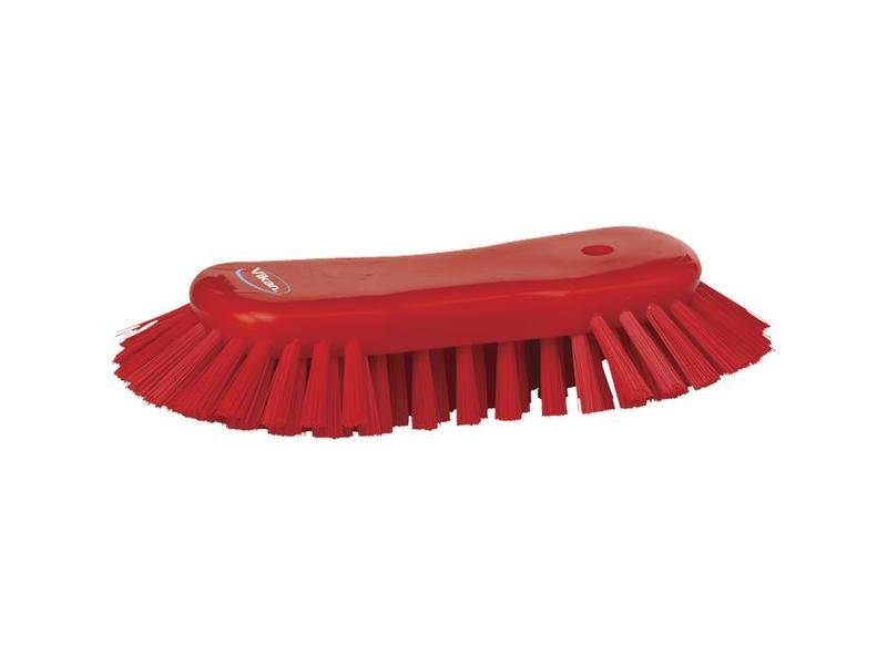 Vikan Vikan Grote ergonomische werkborstel polyester vezels, hard, met wijd uitstaande vezels 250x120x60mm rood