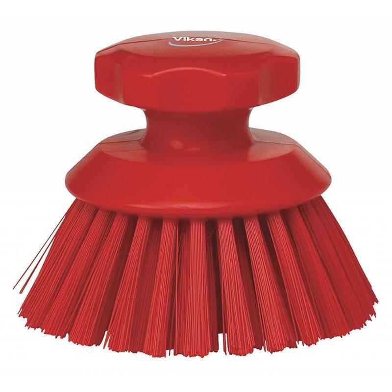 Vikan Ronde werkborstel polyester vezels, hard Ø110x110mm rood