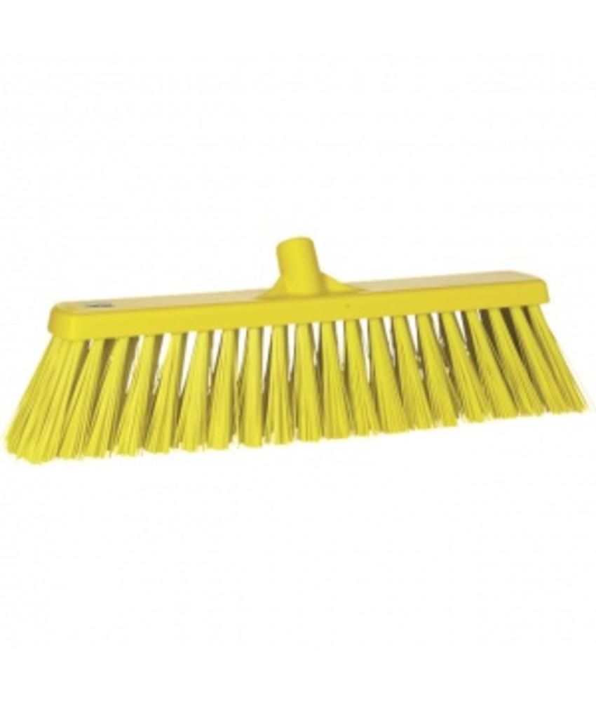 Vikan,Brede bezem, polyester vezels, hard, 530x175x90mm, geel