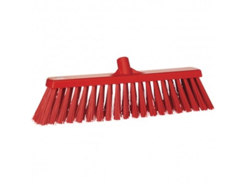 Vikan Vikan,Brede bezem, polyester vezels, hard, 530x175x90mm, rood