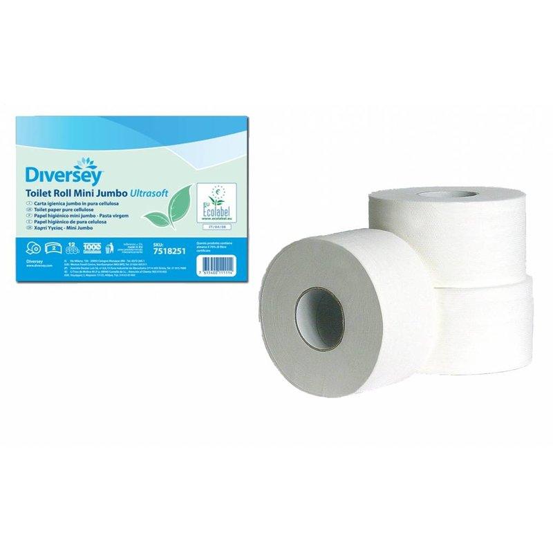 Toiletpapier Mini Jumbo Puur Cellulose Ultrasoft (laags)