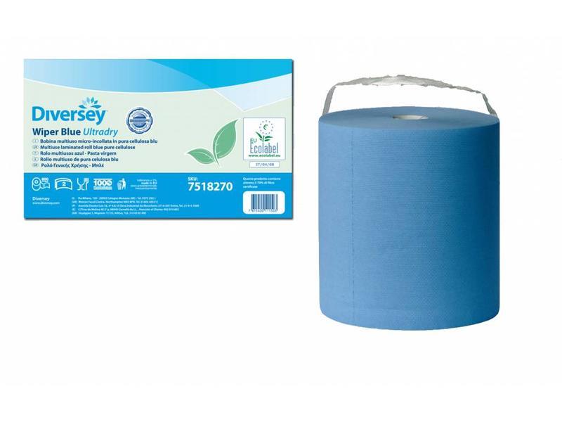 Johnson Diversey Multirol Gelamineerd Blauw Puur Cellulose Ultradry (2 laags)