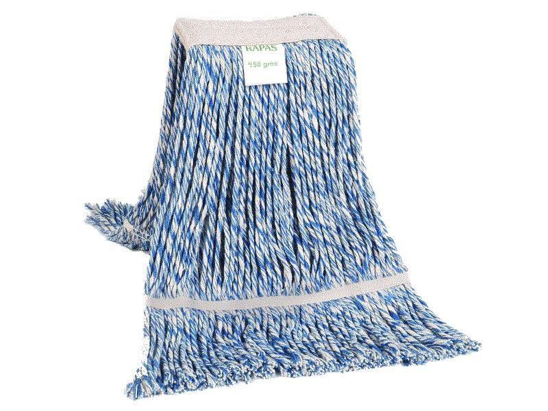 Eigen merk Strengenmop katoen blauw/wit - 450 gram