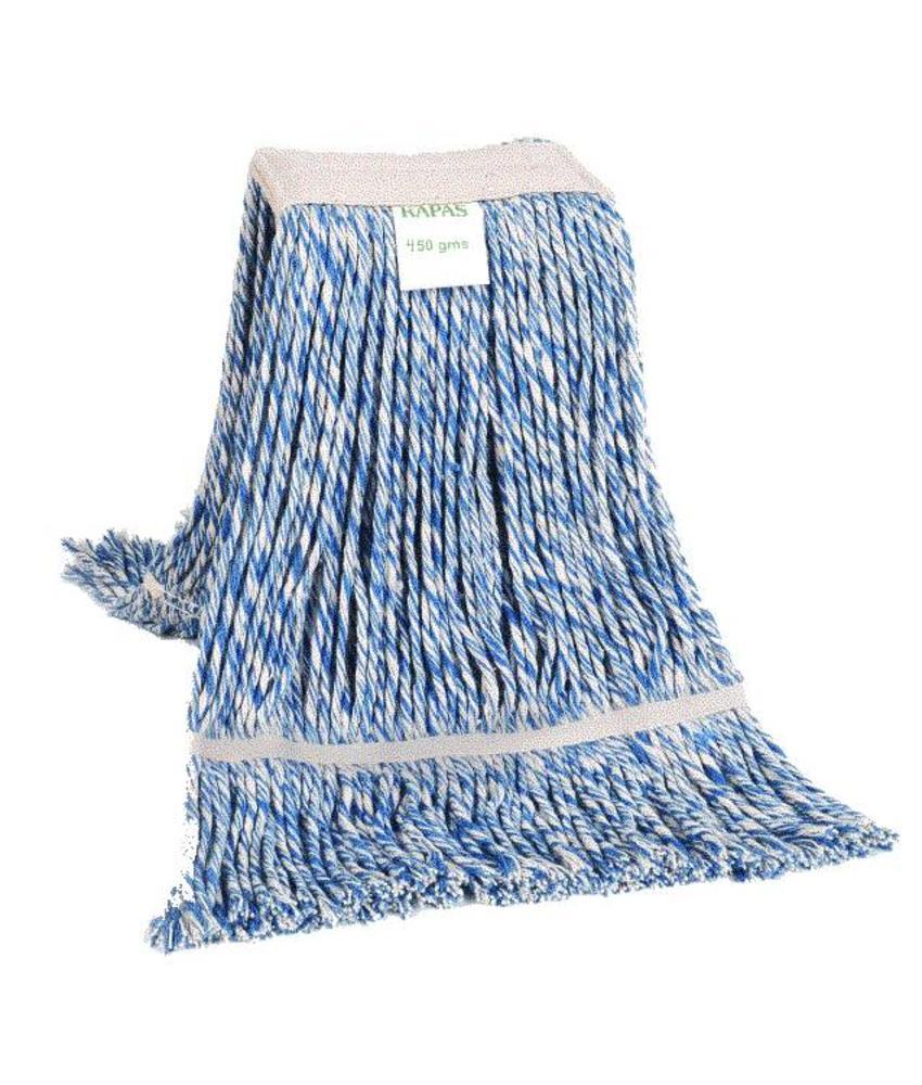 Strengenmop katoen blauw/wit - 450 gram