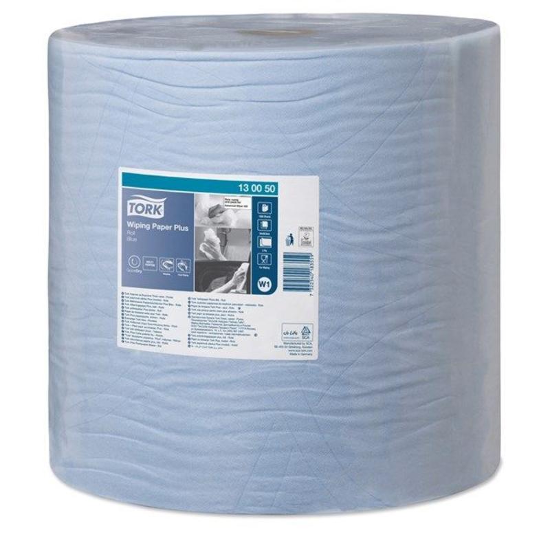 Tork Wiping Plus Rol Poetspapier 2-laags Blauw W1