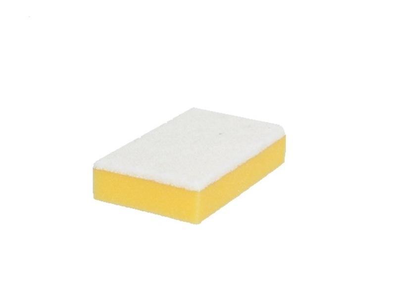 Eigen merk Schuurspons geel met witte pad (pak á 10 stuks)