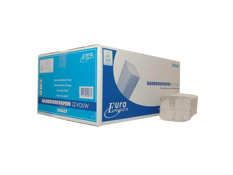 Euro Products Euro Products Z-vouw, 2 laags Vouwhanddoekjes ECO Recycled tissue