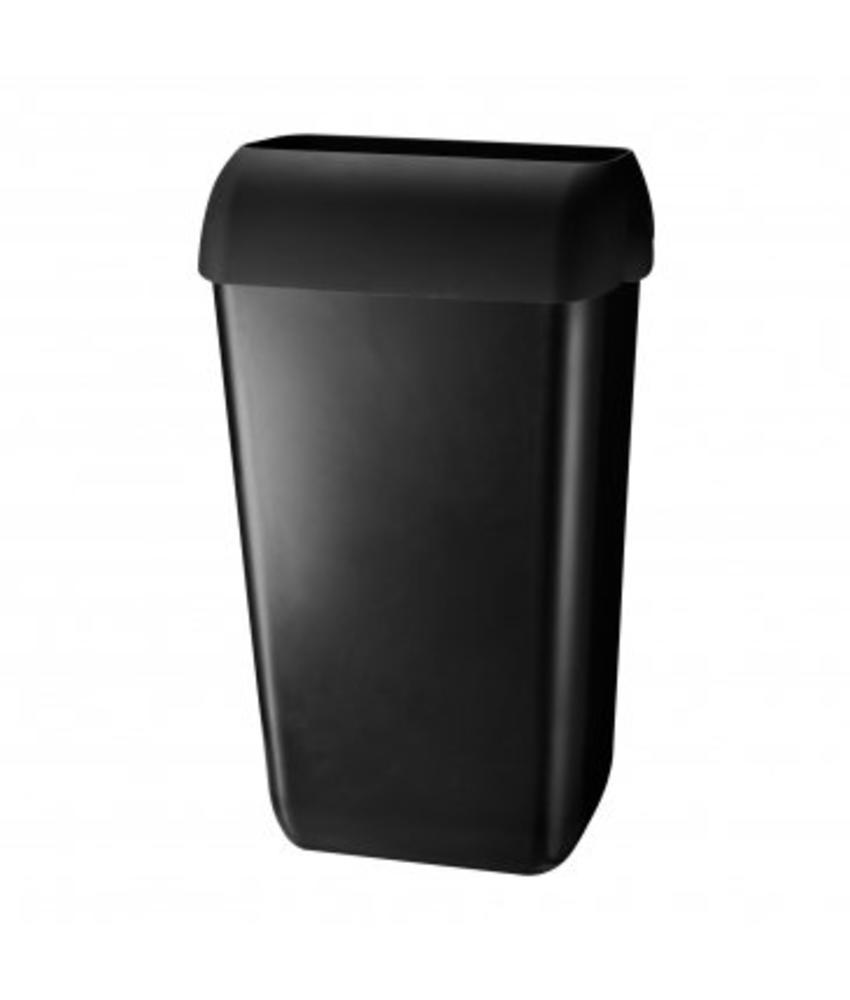 Euro Products Afvalbak kunststof zwart 23 ltr met open inworp