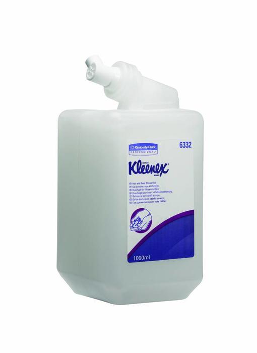 KLEENEX® Douchegel, voor het haar en het lichaam - Cassette / 1 Ltr - Wit