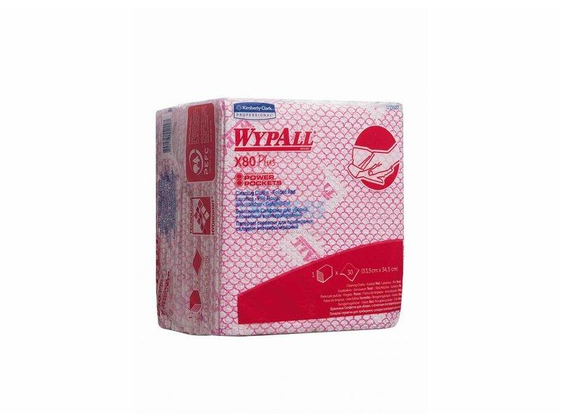 Kimberly Clark WYPALL* X80 Plus Sopdoeken - 1/4 Gevouwen - Rood