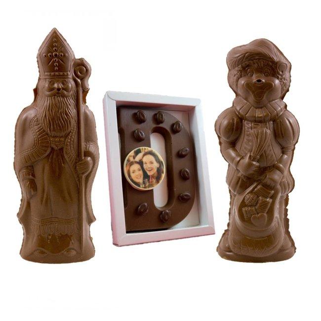 Chocolade set XXL, Sint & Piet & letter 750 gram met foto of logo